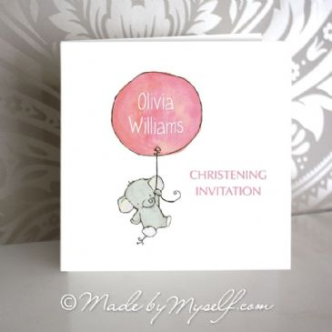 Balloon Christening Invitation - Girl